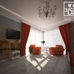 3d визуализация интерьера гостевой спальни