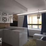 3d визуализация интерьера гостиной-студии. Вид 2