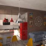"""3d визуализация квартиры в стиле loft. Студия """"Здесь дизайн"""""""